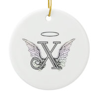 Letter X Initial Monogram with Angel Wings & Halo Ornaments