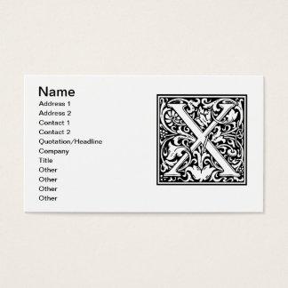 Letter X Medieval Monogram Vintage Initial Business Card