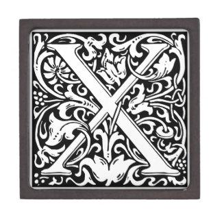 Letter X Medieval Monogram Vintage Initial Premium Keepsake Boxes