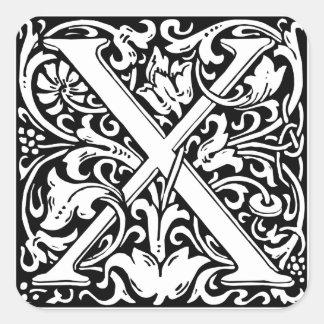 Letter X Medieval Monogram Vintage Initial Square Sticker