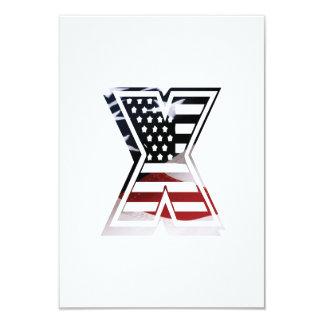 Letter X Monogram Initial Patriotic USA Flag Card