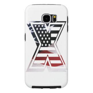 Letter X Monogram Initial Patriotic USA Flag Samsung Galaxy S6 Case