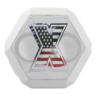 Letter X Monogram Initial Patriotic USA Flag White Bluetooth Speaker
