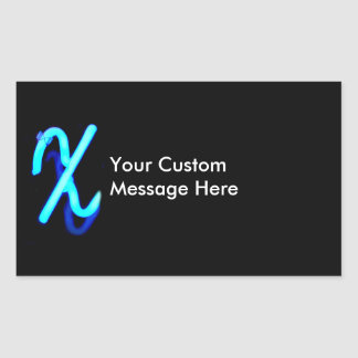 "Letter ""X"" Neon Light Monogram Rectangular Sticker"