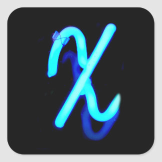 "Letter ""X"" Neon Light Monogram Square Sticker"