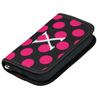 Letter X on Black Pink Polka Dots Folio Planner