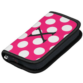 Letter X on Pink White Polka Dots Folio Planners