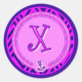 Letter 'X' Pink Nautical Chevron w/ Anchor  - Classic Round Sticker