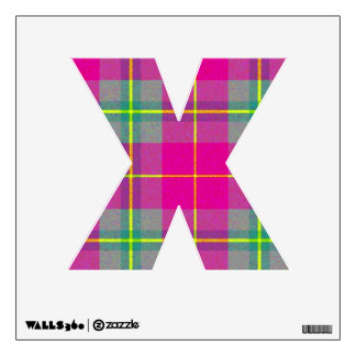 letter X punk rock tartan plaid rockabilly goth Wall Decal