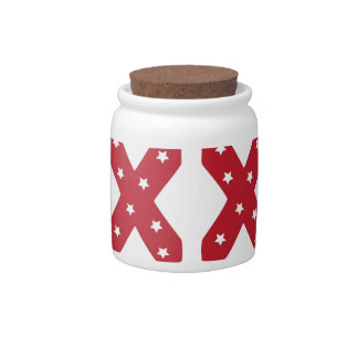 Letter X - White Stars on Dark Red Candy Jars