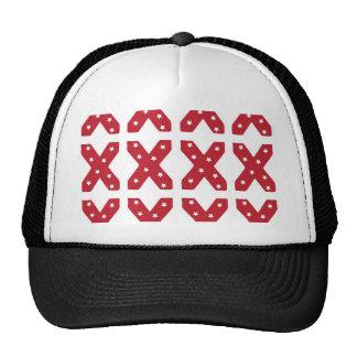 Letter X - White Stars on Dark Red Trucker Hat