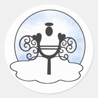 Letter Y Alphabet Initial Monogram w Angel Clouds Classic Round Sticker