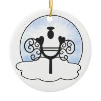 Letter Y Alphabet Initial Monogram w Angel Clouds Ornament