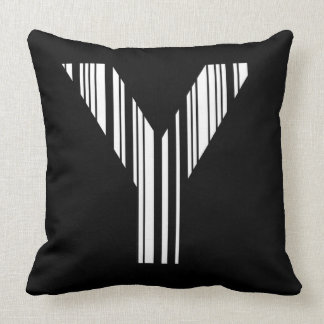 LETTER Y BAR CODE First Initial Barcode Pattern Throw Pillow