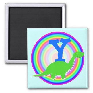 Letter Y Green Dinosaur Diplodocus Fridge Magnet