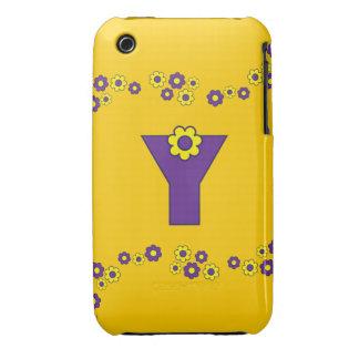 Letter Y in Flores Purple Monogram iPhone 3 Case-Mate Case