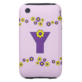Letter Y in Flores Purple Monogram Tough iPhone 3 Case