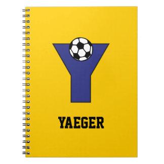 Letter Y in Soccer Blue Monogram Spiral Notebook