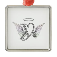 Letter Y Initial Monogram with Angel Wings & Halo Ornaments