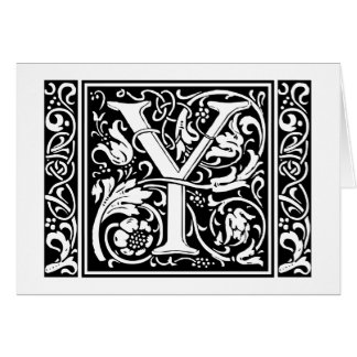 Letter Y Medieval Monogram Vintage Initial Card