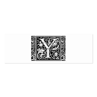 Letter Y Medieval Monogram Vintage Initial Double-Sided Mini Business Cards (Pack Of 20)