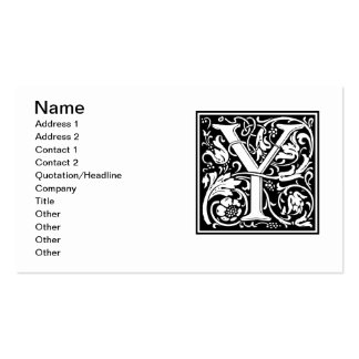 Letter Y Medieval Monogram Vintage Initial Double-Sided Standard Business Cards (Pack Of 100)