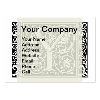 Letter Y Medieval Monogram Vintage Initial Large Business Cards (Pack Of 100)