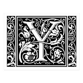 Letter Y Medieval Monogram Vintage Initial Postcard