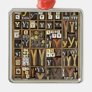 Letter Y Metal Ornament
