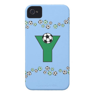 Letter Y Monogram in Soccer Green iPhone 4 Case