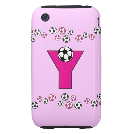 Letter Y Monogram in Soccer Pink Tough iPhone 3 Cover