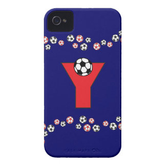 Letter Y Monogram in Soccer Red iPhone 4 Case