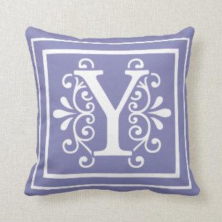 Letter y pillows decorative throw pillows zazzle letter y monogram periwinkle purple throw pillow sciox Images