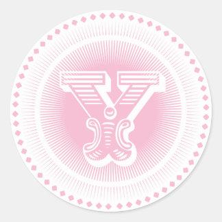 Letter Y Monogram Round Stickers