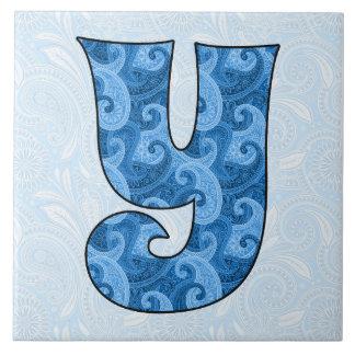 Letter Y - Monogrammed Blue Paisley 6 inch Tile