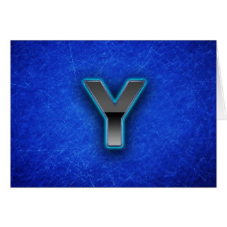 Letter Y - neon blue edition Card