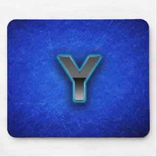 Letter Y - neon blue edition Mouse Pad