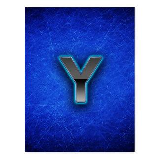 Letter Y - neon blue edition Postcard