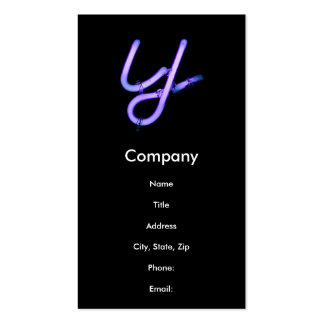 """Letter """"Y"""" Neon Light Monogram Double-Sided Standard Business Cards (Pack Of 100)"""