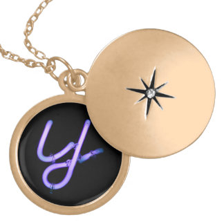 "Letter ""Y"" Neon Light Monogram Locket Necklace"