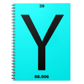 Letter Y periodic table Spiral Note Books