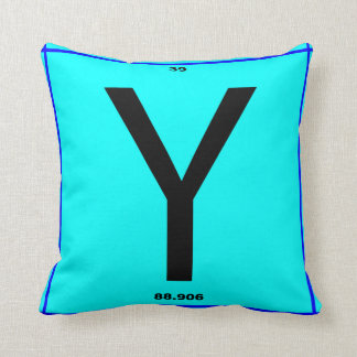 Letter Y periodic table Throw Pillow