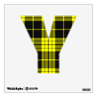 letter Y punk rock yellow plaid tartan vintage emo Wall Sticker