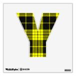 letter Y punk rock yellow plaid tartan vintage emo Wall Decal