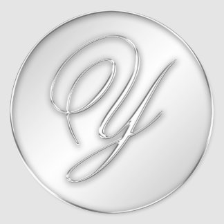 Letter Y script initial faux silver monogram favor Classic Round Sticker