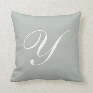 Letter Y Silver Gray Monogram Pillow
