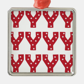 letter y white stars on dark red metal ornament