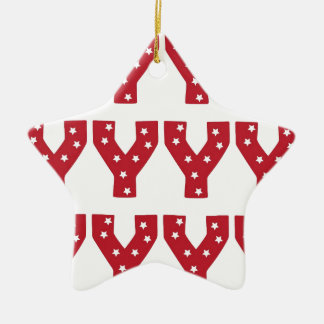 Letter Y - White Stars on Dark Red Christmas Ornaments