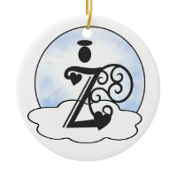 Letter Z Alphabet Initial Monogram w Angel Clouds Christmas Tree Ornaments