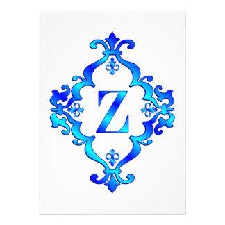 Letter Z Blue Invite